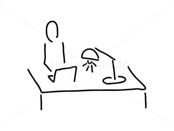 Schreibtisch gezeichnet  Arbeit und Berufe - Am Schreibtisch mit Laptop Notebook und Lampe ...