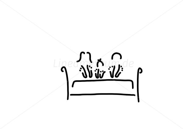 Familie Alltag Und Essen Fuesse Einer Familie Barfuss Im Bett