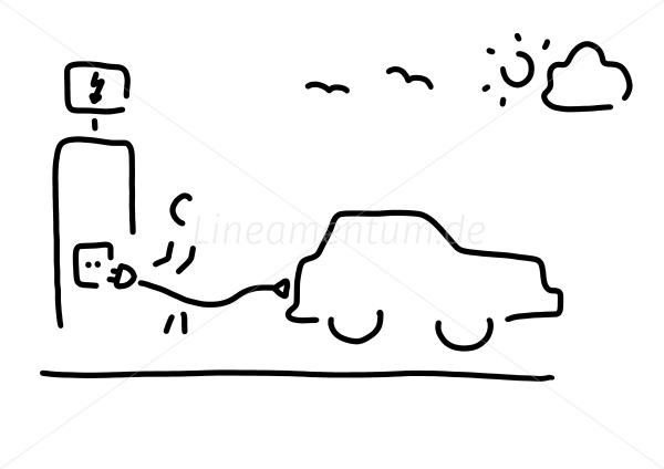 Tiere und Natur - person mit elektro-auto an steckdose - Ferdinand ...