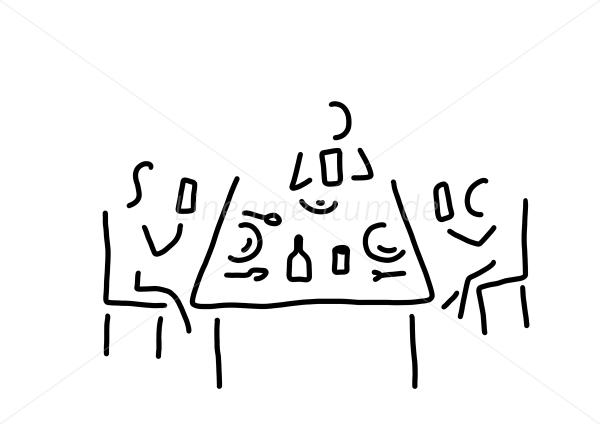 Gedeckter tisch gezeichnet  Familie, Alltag und Essen - drei beim essen mit smartphones ...