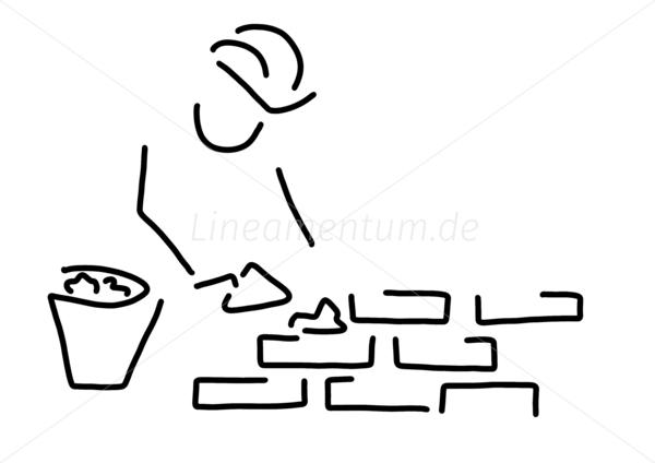 Bauarbeiter clipart schwarz weiß  Arbeit und Berufe - maurer bauarbeiter hausbau mauer - Ferdinand ...